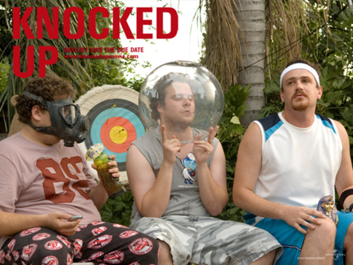 Cast: Seth Rogen Katherine Heigl Paul Rudd Leslie Mann While not the central plot line of Knocked Up, the sub-plot involving a group of stoners trying to get a web site a la Mr. Skin up and running provides some of the funniest scenes in the film.
