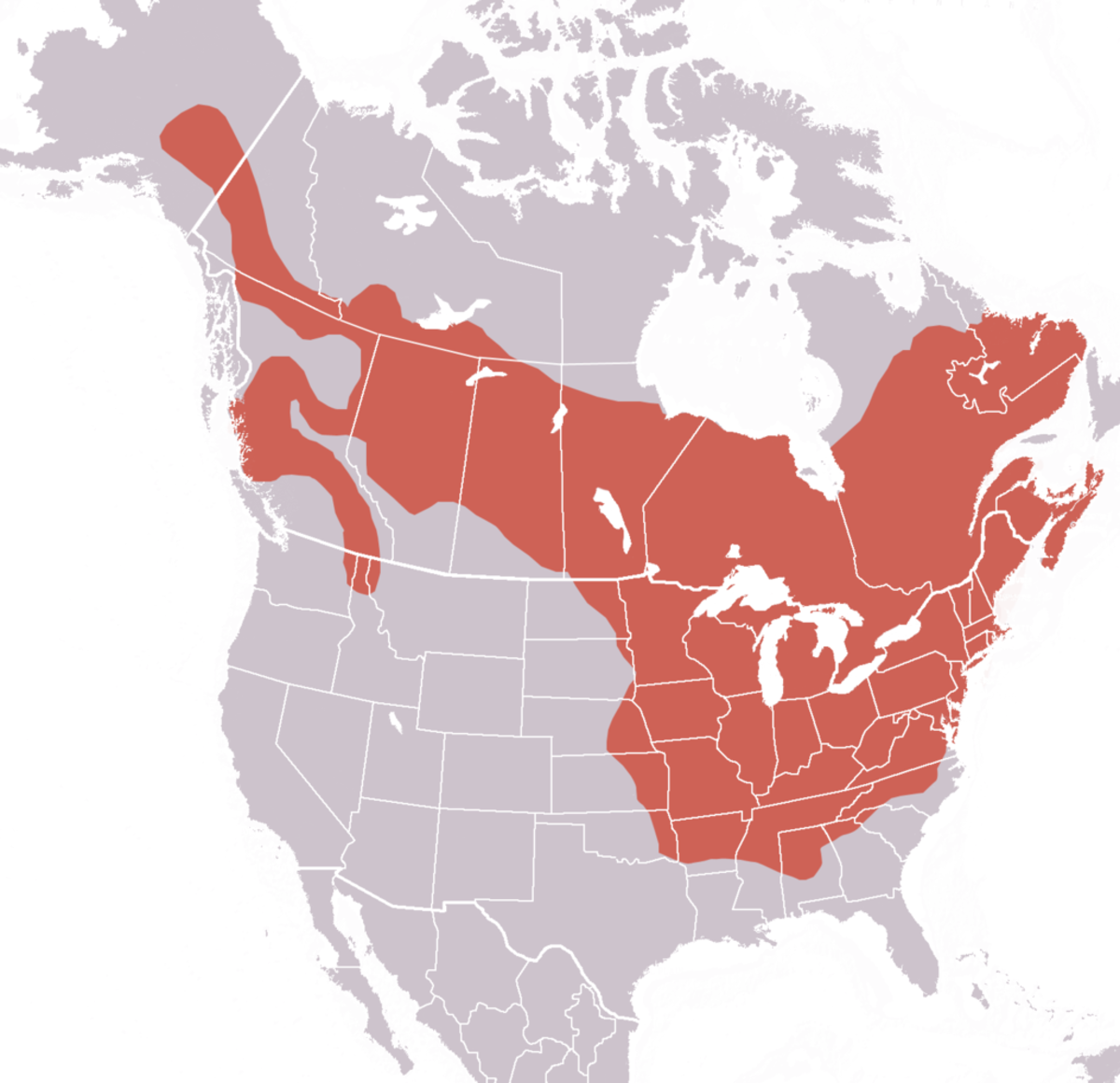 Red is the habitation range of groundhogs.