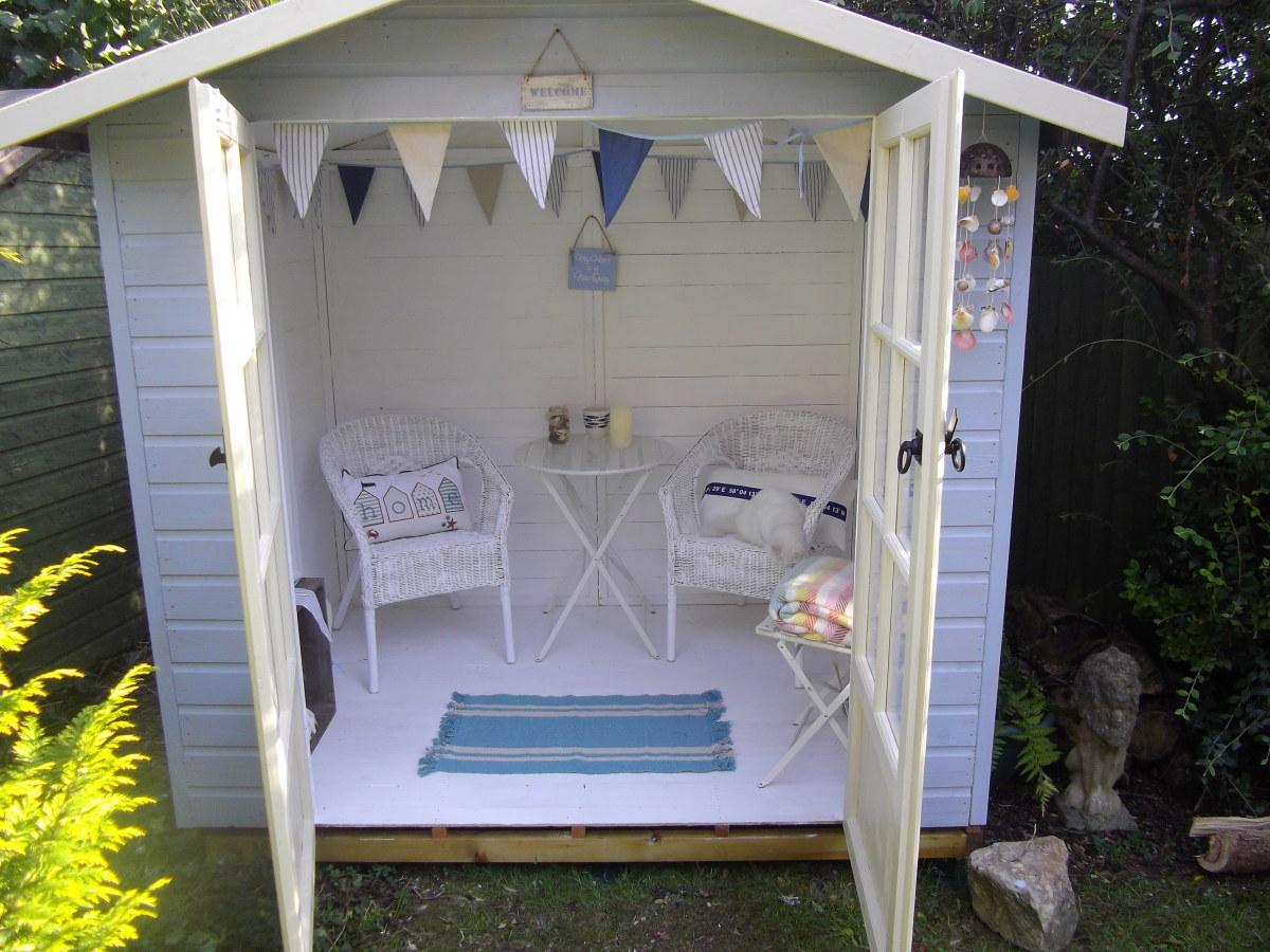 Beach House themed garden summerhouse.
