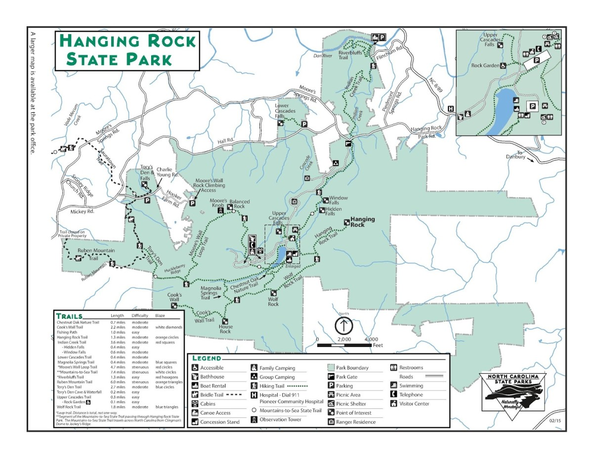 Map of Hanging Rock State Park