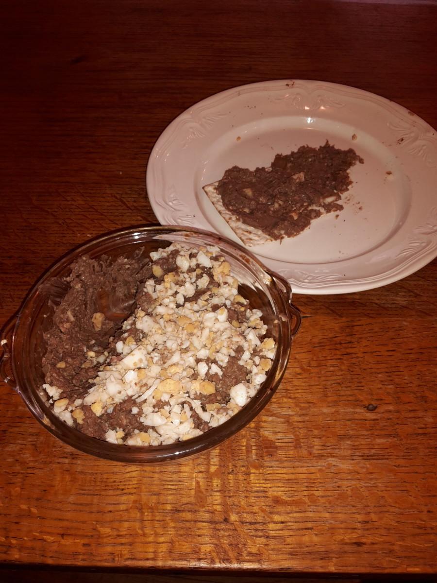 Chopped liver on matzo. Bon appetit!