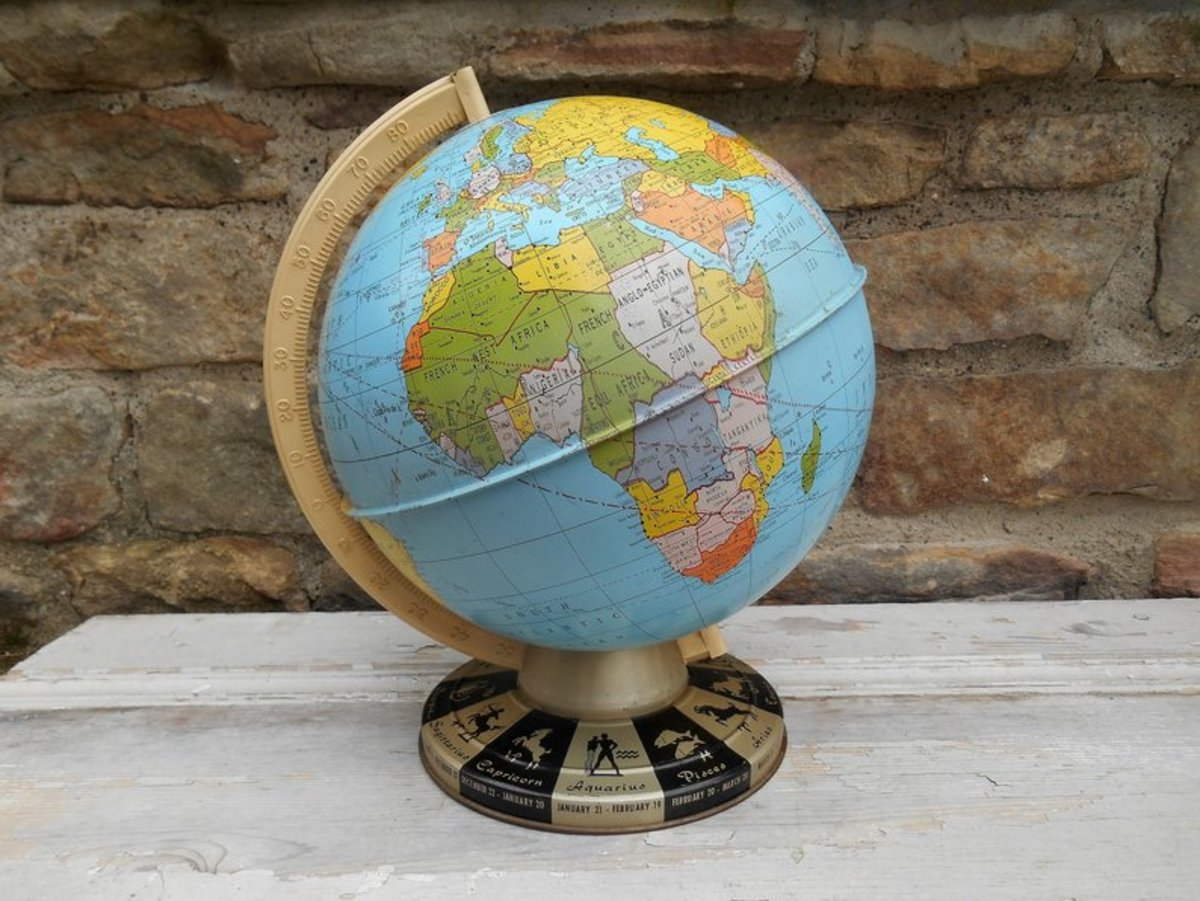 Vintage world globe by Swansdowne etsy shop