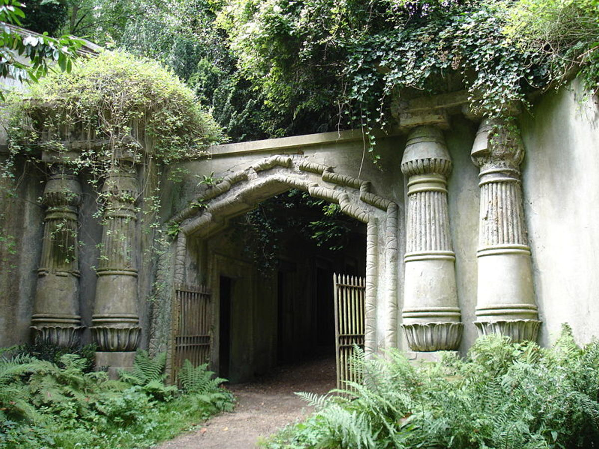 One of the main entrances to the Highgate Cemetery. This is the Egyptian Avenue Entrance To Highgate Cemetery.