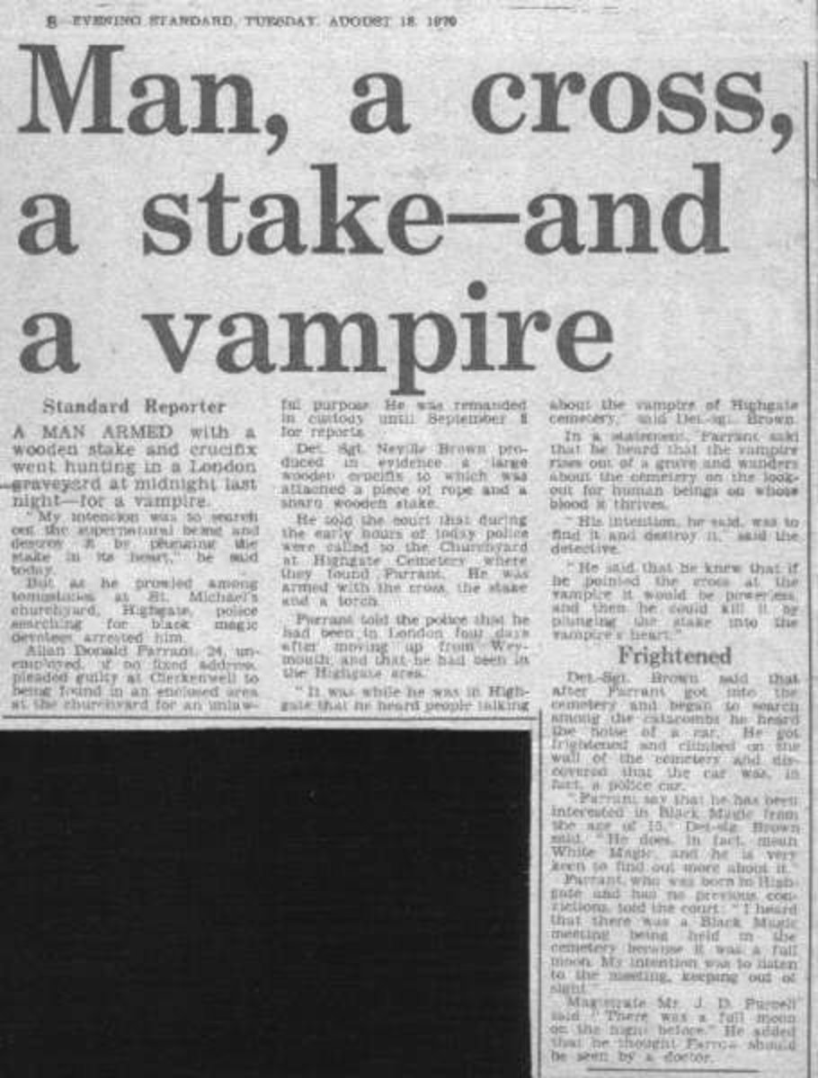 1970 Newspaper Story Of Vampire Hunt In Highgate Cemetery