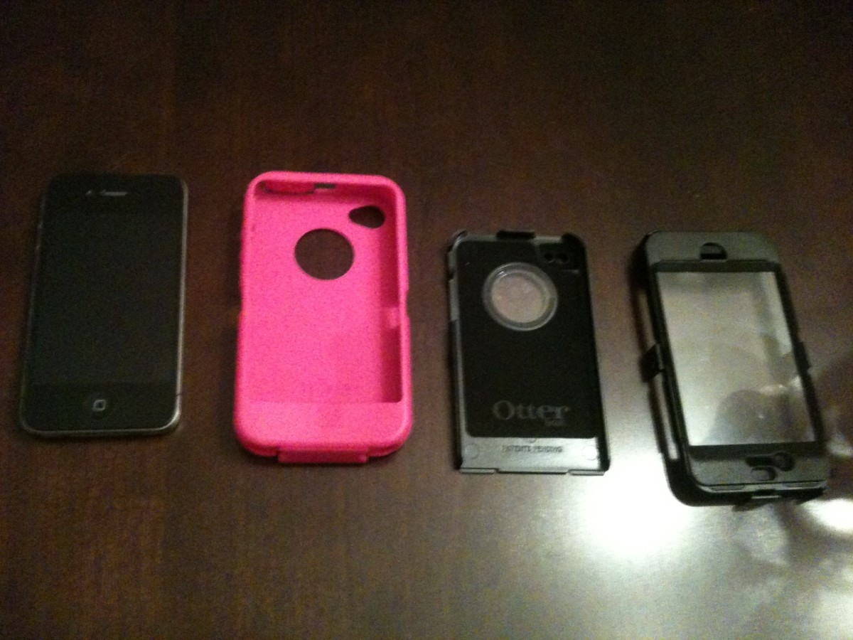 From left to right: iPhone 4, OtterBox Defender soft silicone shell, OtterBox Defender back hard plastic cover and the OtterBox Defender front hard plastic cover.
