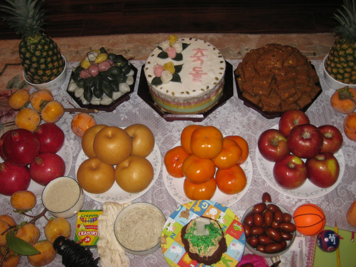 For my son's fruit and traditional rice cake filled birthday table (middle row, from left to right): pomegranates, asian pears, fuyu persimmons, apples (fall fruits).