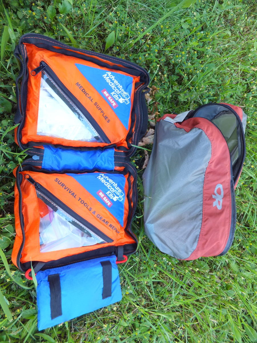 The Adventure Medical Kits pouch is a great way to organize survival and first aid gear.  The OR zip pouch is a lightweight water resistant way to carry outdoor essentials.