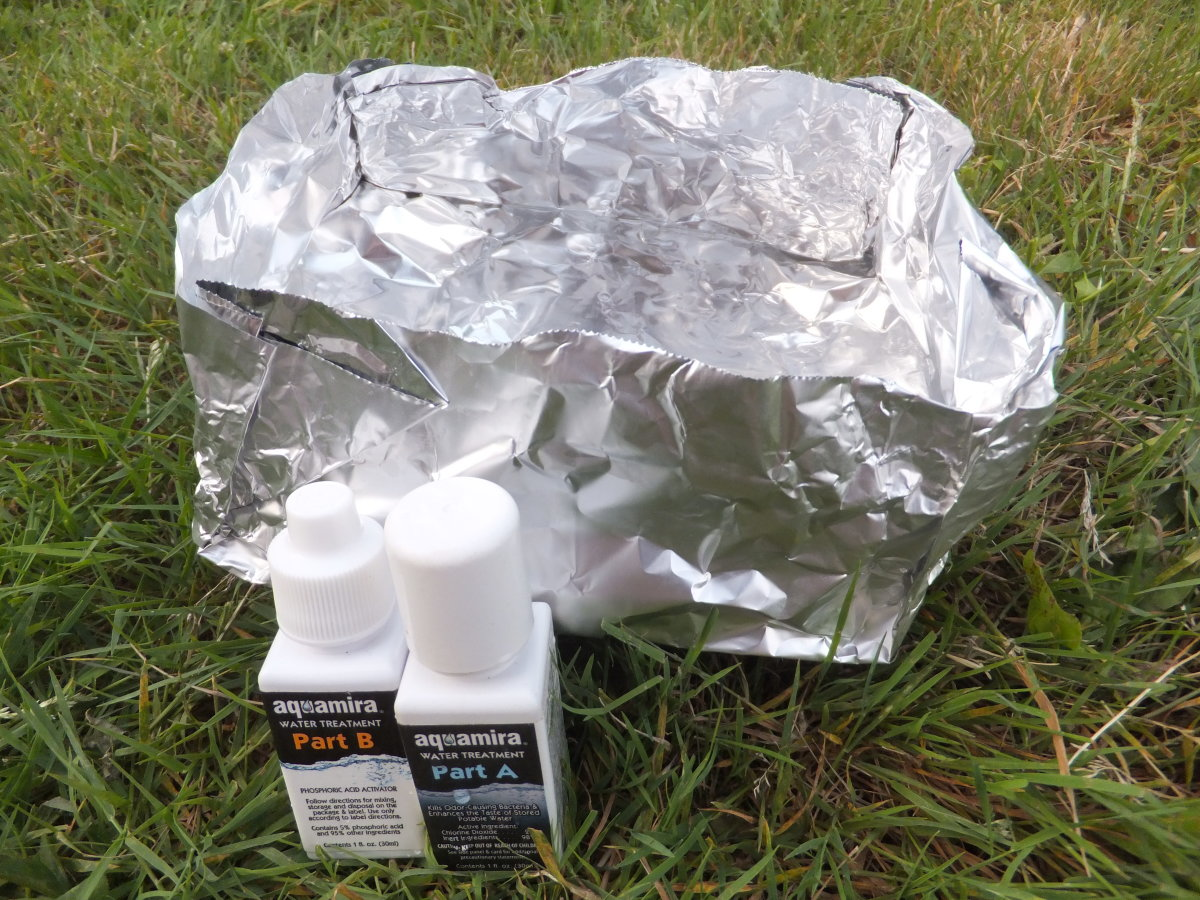 Fashion a crude bowl for boiling water out of aluminum foil or carry a chemical purifier like aqua mira.