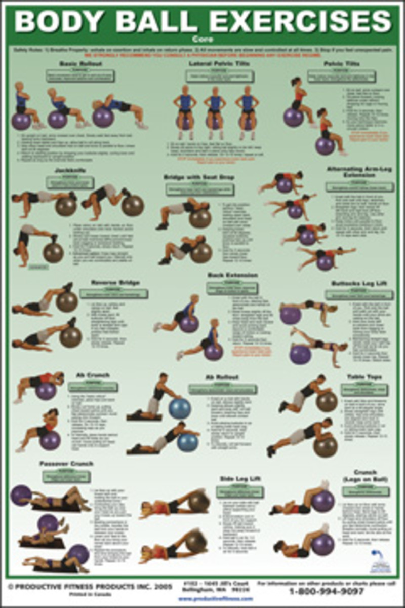 Balance Ball Exercise Chart / Poster