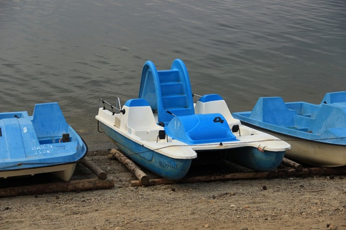 pedal boat in blue and white