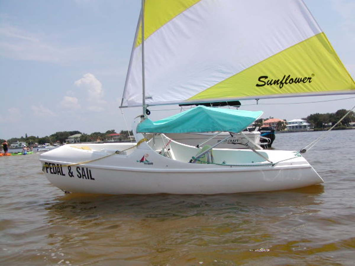 add a sail kit to your pedal boat - perfect marriage of pedal boat and sailboat