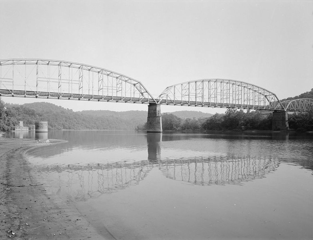 The Charleroi-and-Monessen Bridge, carrying Lock Street over the Monongahela River between the two cities.