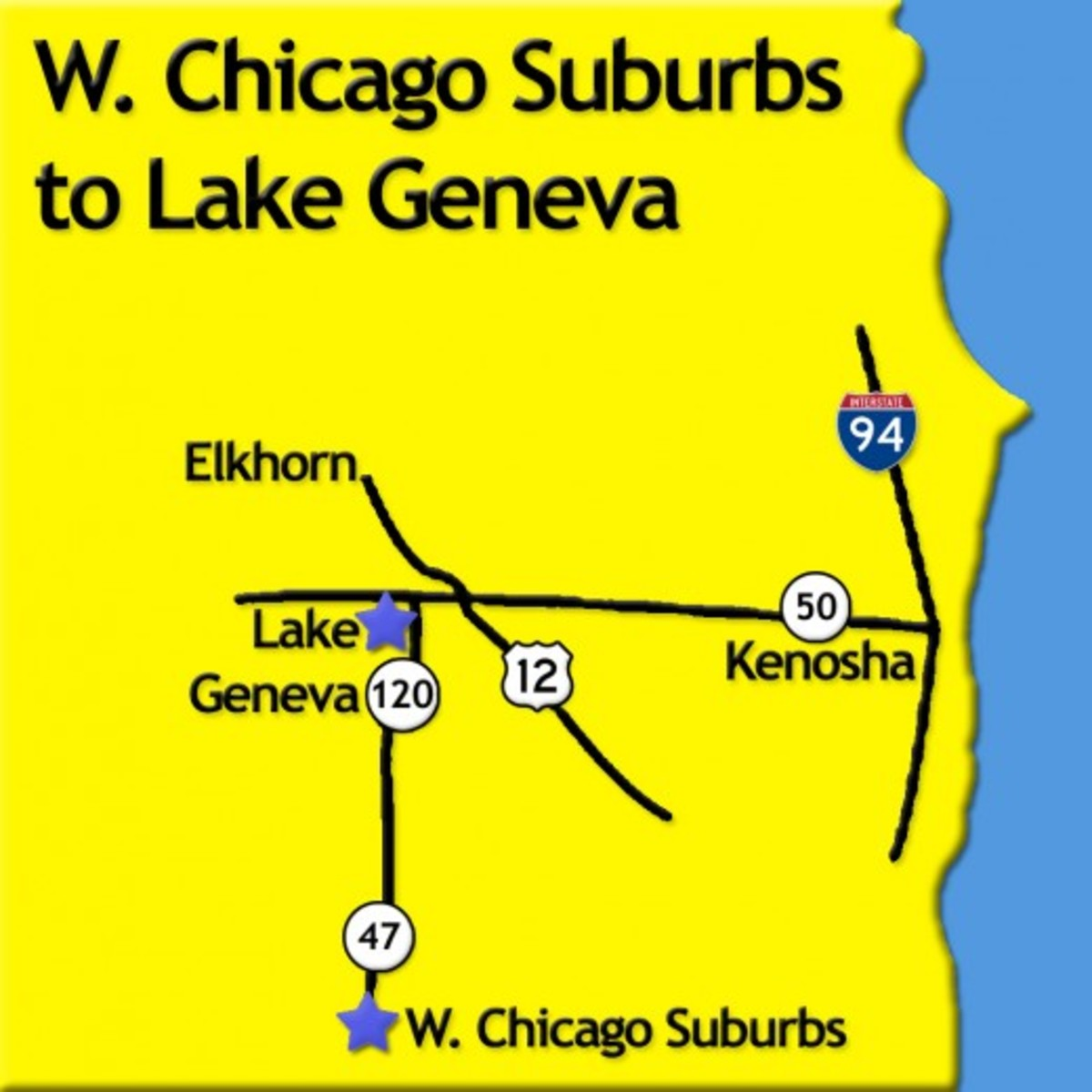 Road Map from Westerns Suburbs of Chicago to Lake Geneva, Wisconsin (photo courtesy of GmaGoldie)