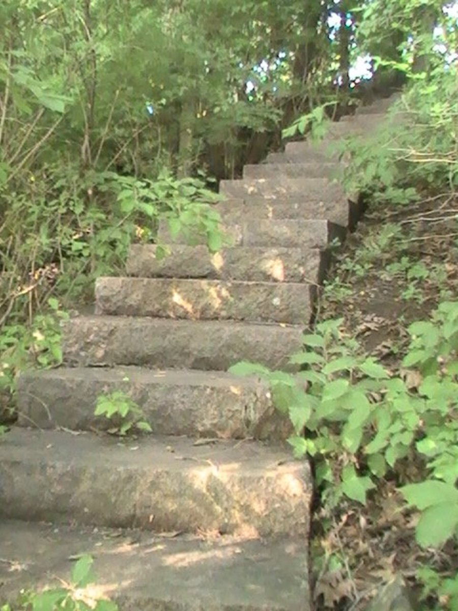 Geneva Lake Pathway - extensive stairway in precast stone along steep incline