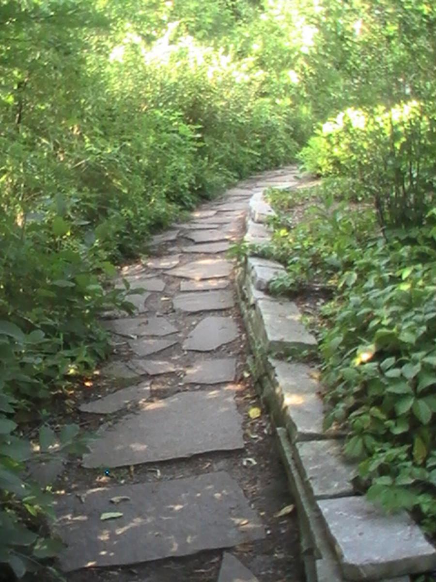 Geneva Lake Pathway - flagstone with stone edging