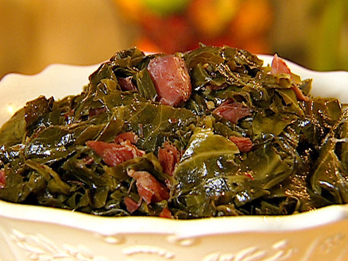 Delicious Collard Greens with Smoked Ham Hock Meat.