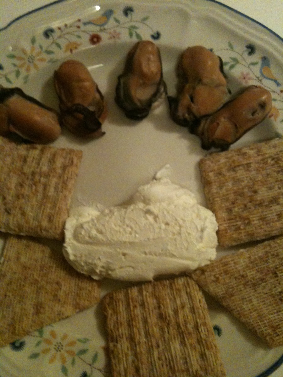 Triscuits, Cream Cheese, & Smoked Oyster appetizer