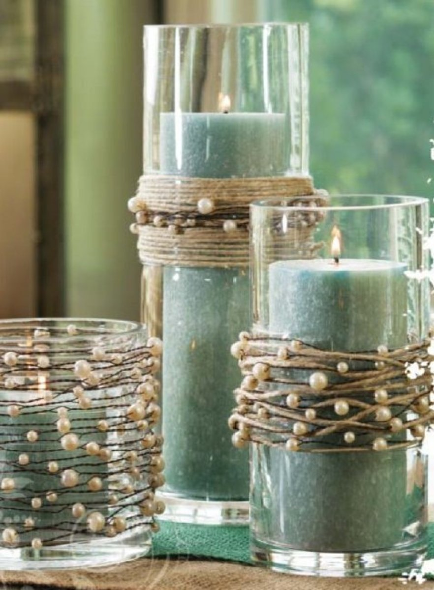 Candles with rope and Pearl Beads