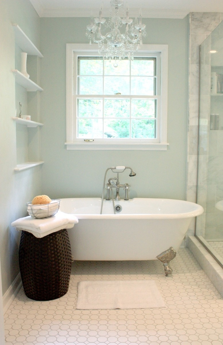 My favorite Bathroom color Sea Salt by Sherwin Williams