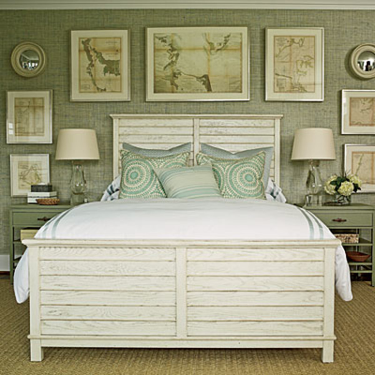 I love this white and green palette It is a perfect setting for a beach bedroom