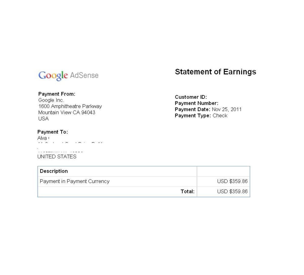 Screen shot of my Google Adsense payout for Nov. 2011