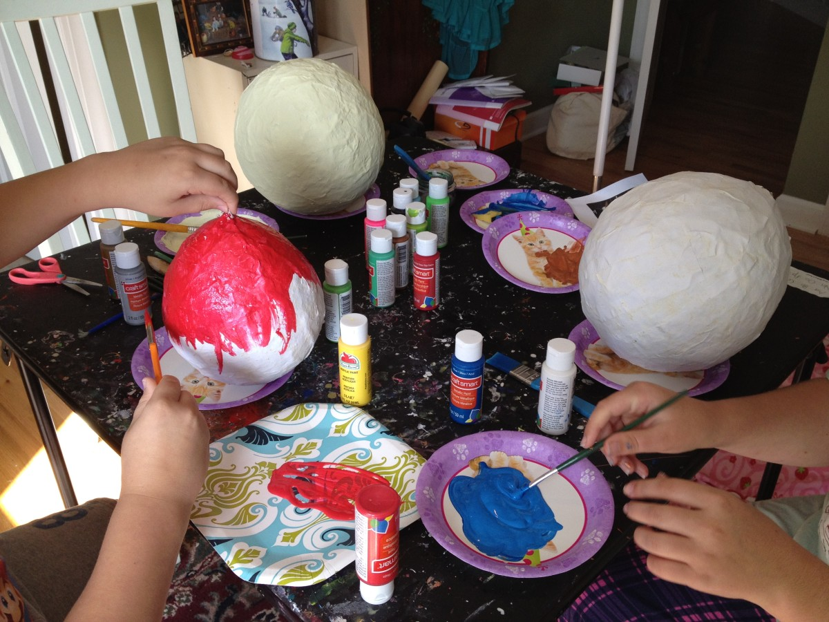 """Red metallic acrylic paint """"rocks"""" for Mars, the Red Planet."""