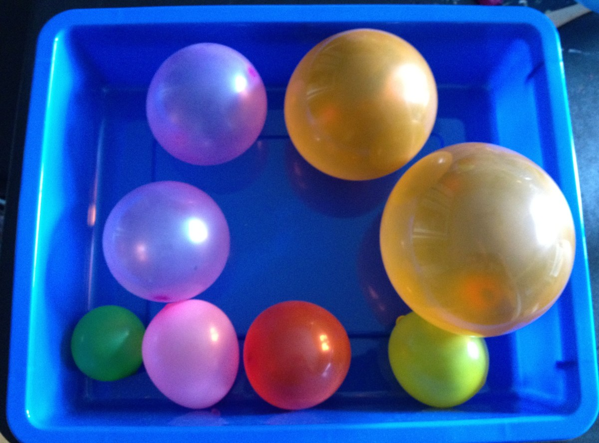 Blow up 8 water balloons in sizes to represent the planets.  Blow up a larger balloon for the Sun.