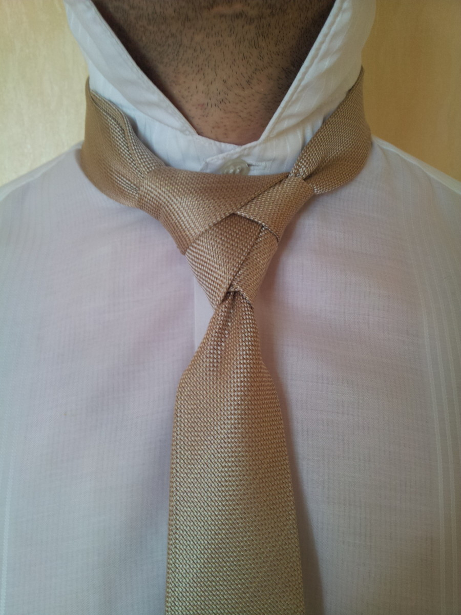 Step 14. Hide the narrow end of the tie behind your loop.
