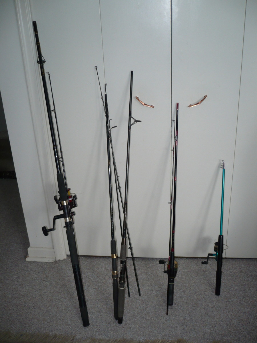 My fishing rods. My salt water fishing rod is on the left.