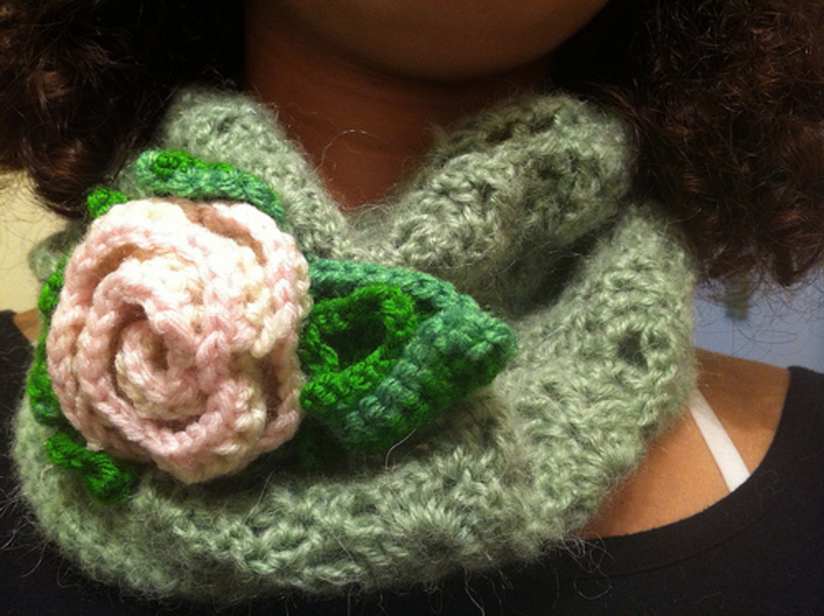 Crochet Rose Pin