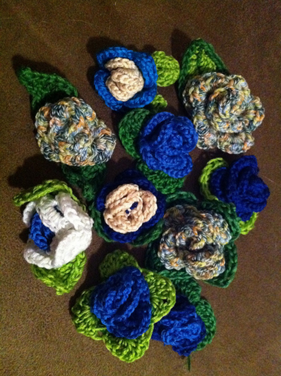 Crochet Rose Pins made with embroidery thread