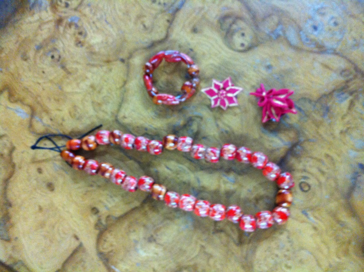 Polymer bead jewelry made by one of my students.