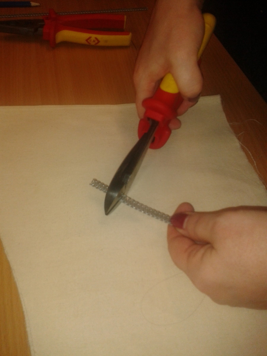 Cut to size using snips- a strong hand is needed