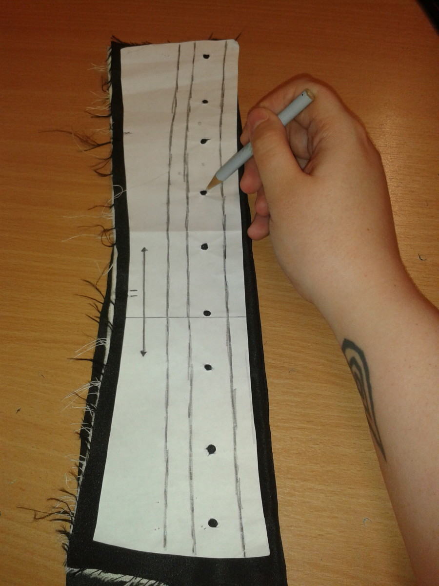 Line up over your A sections, and mark in with a chalk pencil. Flip the piece over for the other side and repeat.  Look over and judge by eye if they are even and balanced. Make alterations as necessary.