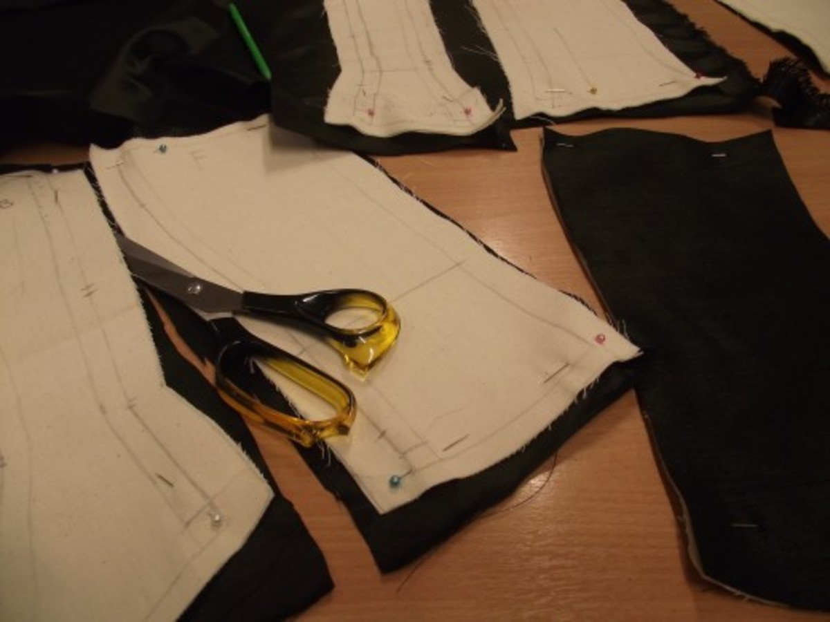 Cut outer fabric, using calico pieces as a guide