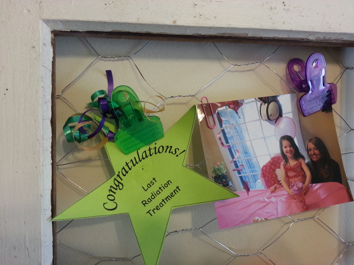 A closer look at a section of the message / picture board here reminds me of when I finished radiation treatment for breast cancer.  Also, there is a photo of my granddaughter on her fourth birthday with my daughter.