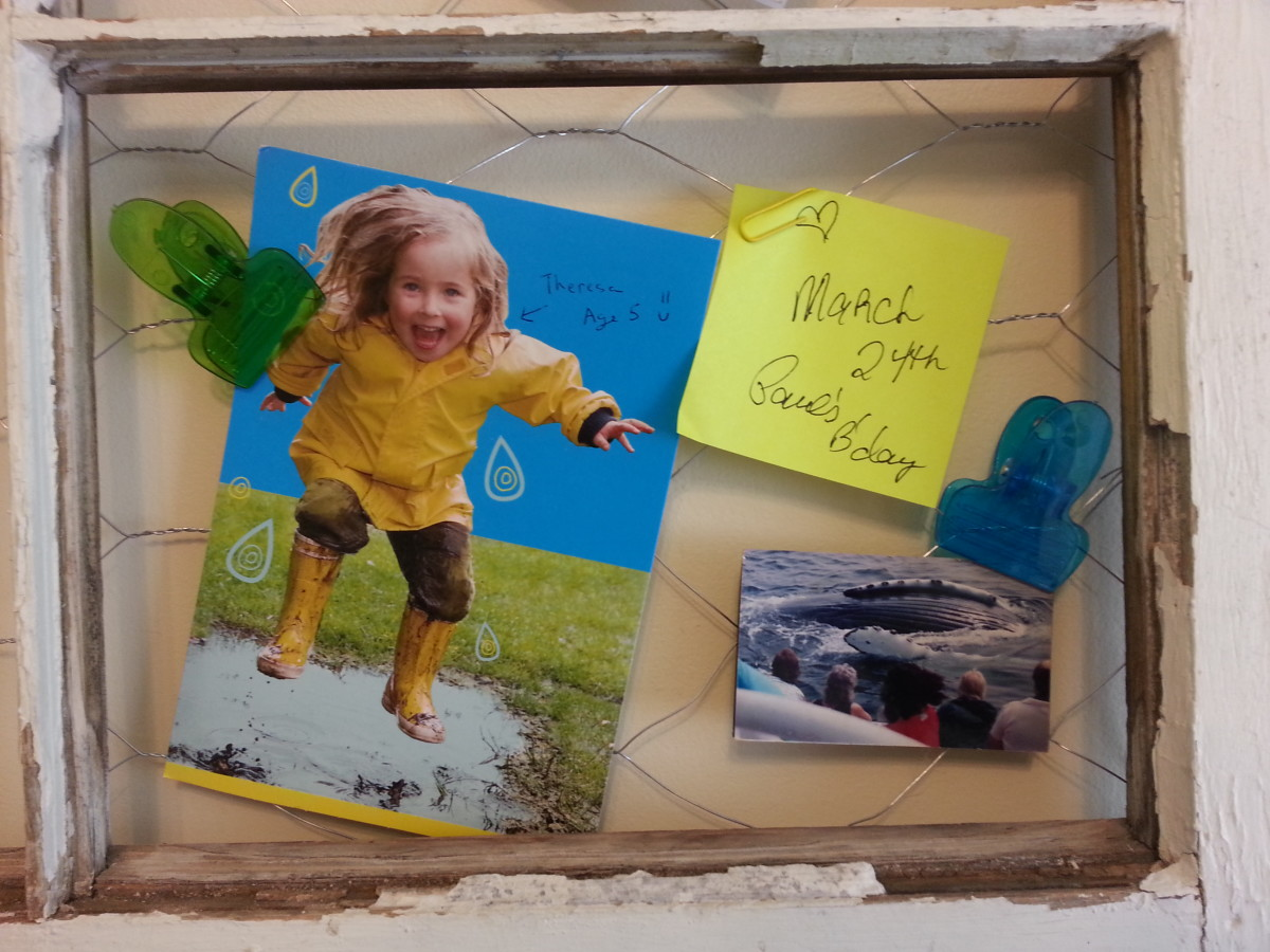 A closer look at this section of the message / picture board contains a sweet birthday card from my brother, who reminded me of when we were very small and used to where those yellow raincoats.  Also, another trip with my mother to see blue whales.