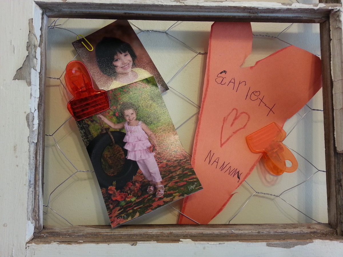 This section contains photos of my two granddaughters and a heart that my oldest granddaughter made for me, her Nanny.