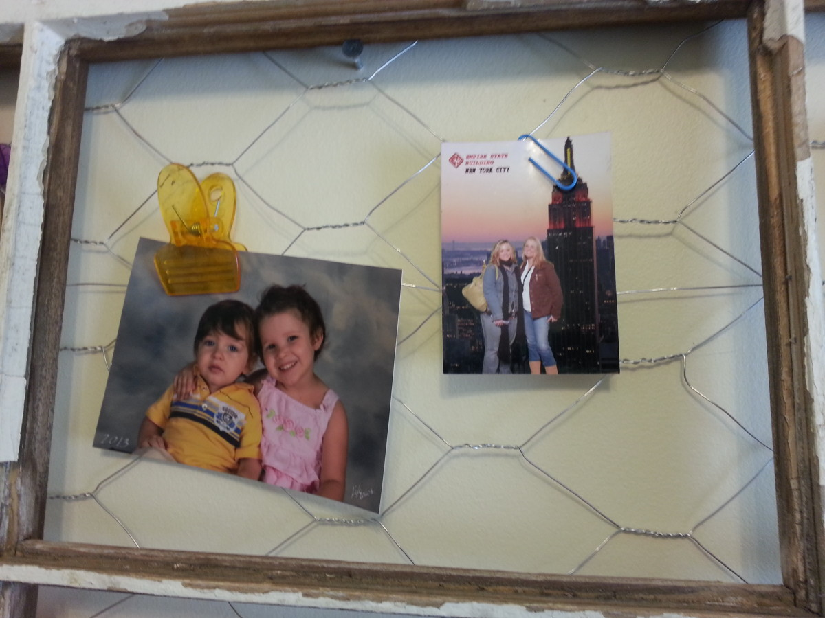 This section holds a sweet photo of two of my grandchildren, and then another of my daughter (far right) and a friend in NY City on their first visit.