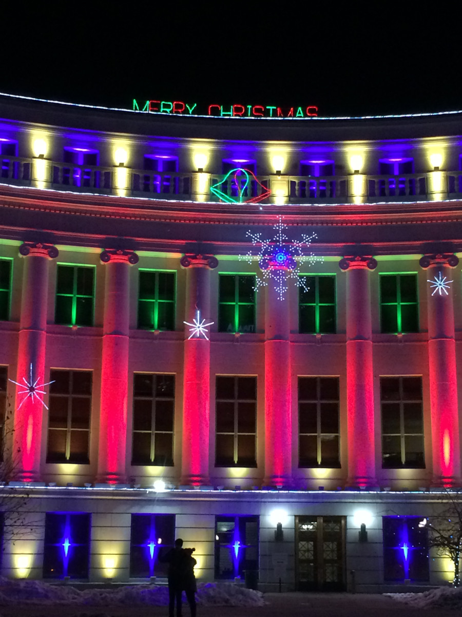 Here is a photo of one of the curved sides of the City & County Building, lit up for the holidays.