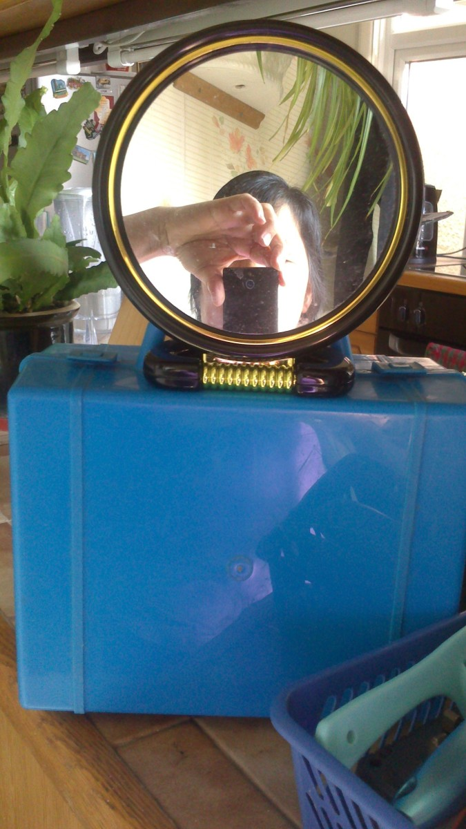 And this is the small mirror I use to see the back of my head.