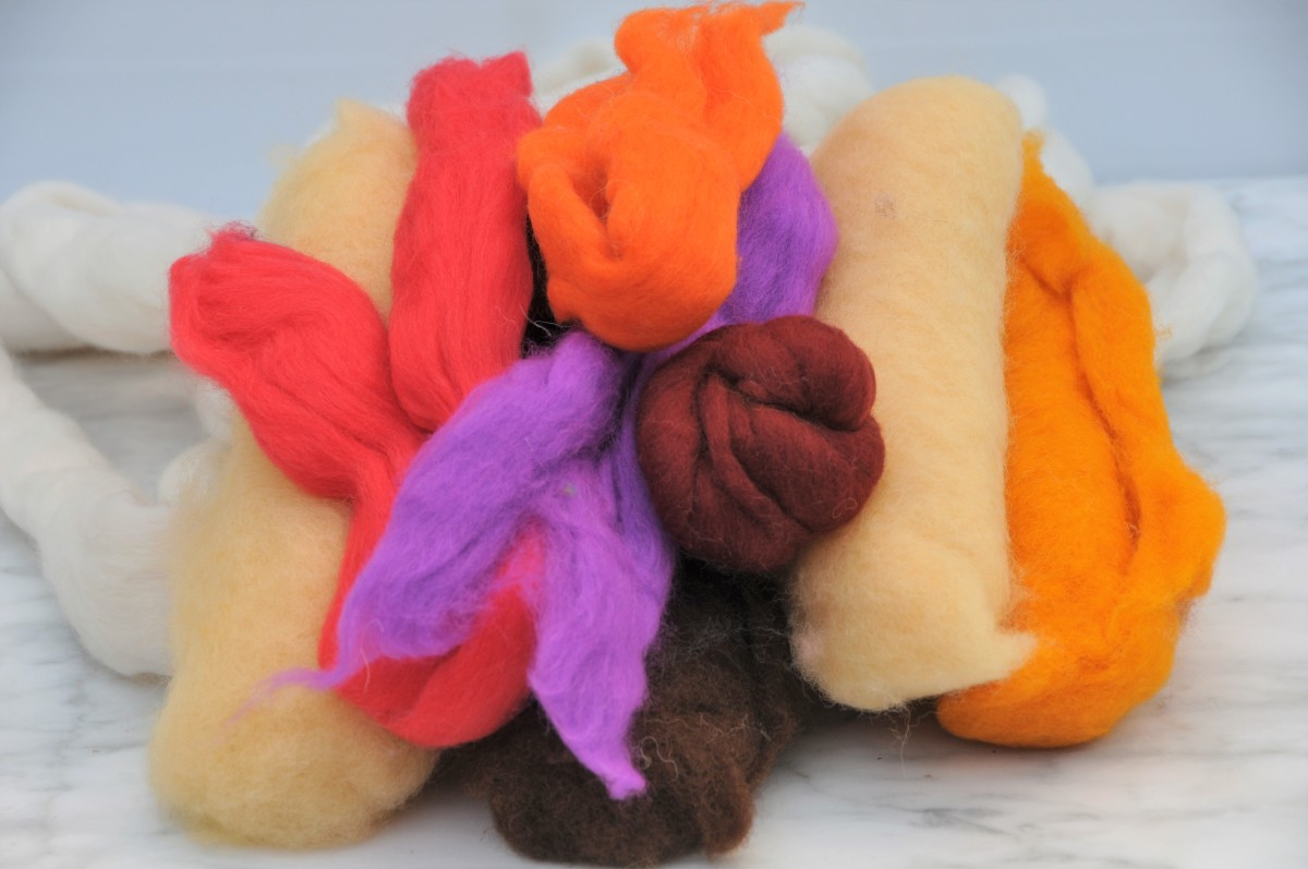 Selection of wool roving in as many complementing colors as possible.