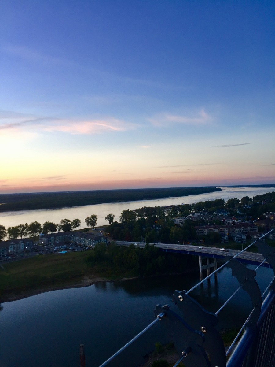 View from The Lookout at sunset over the Mississippi River