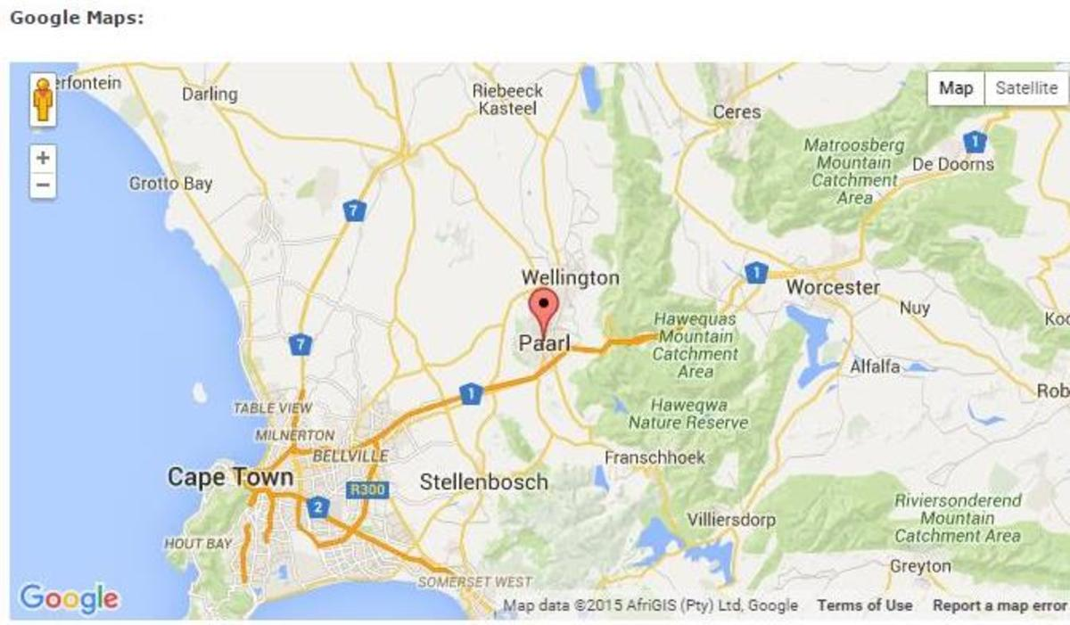 Paarl, only 60 kilometres (37.3 miles) from Cape Town @ Google Maps