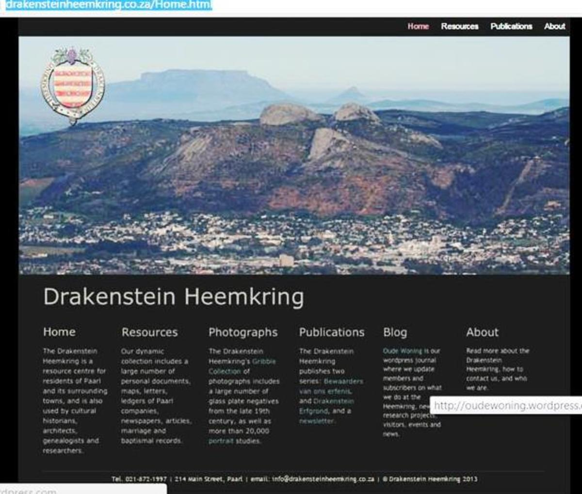 Website of the Drakenstein Heemkring