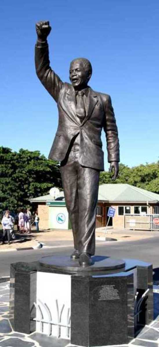 Monument of Nelson Mandela in front of the Drakenstein Correctional Centre, Paarl, South Africa