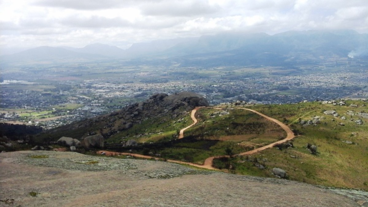 Paarl Rock, Western Cape, South Africa - View on the Paarl and the Du Toitskloof Mountains