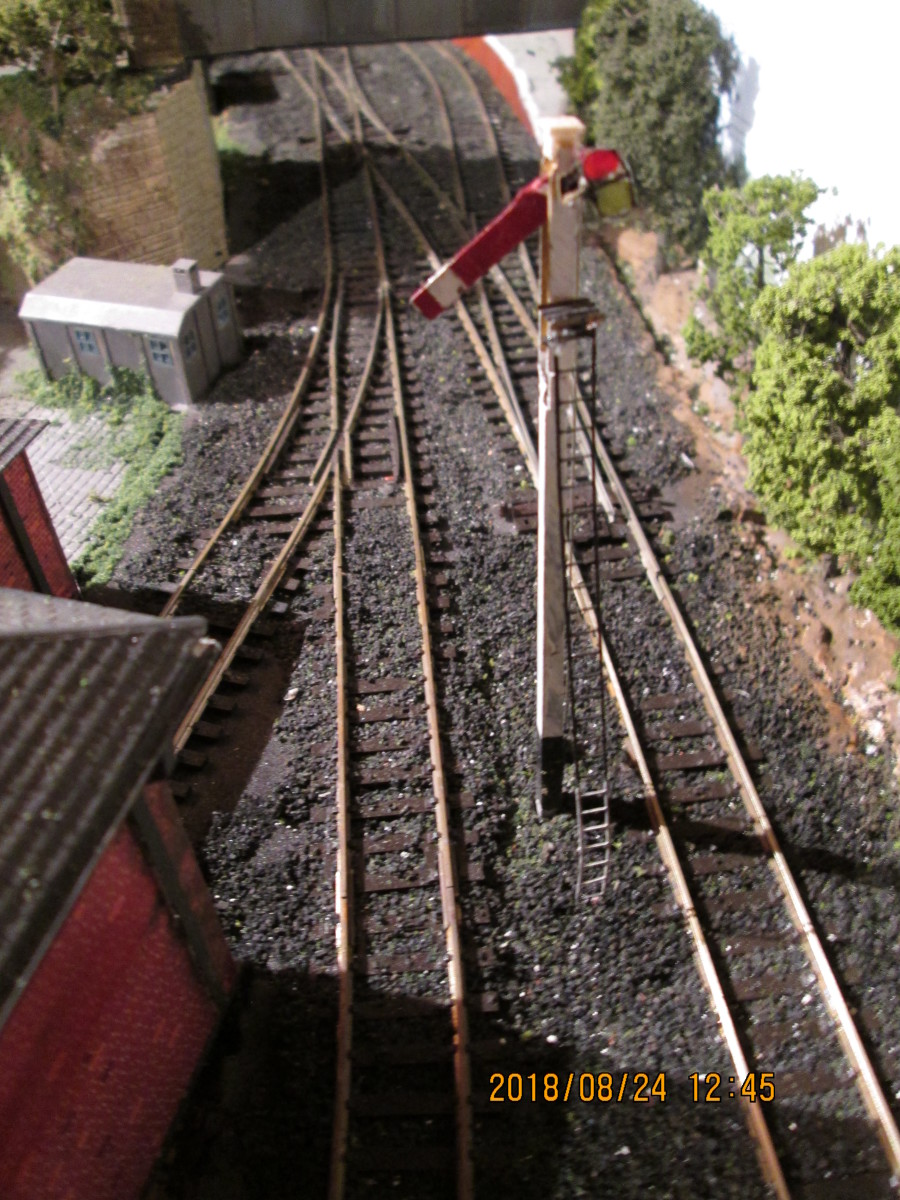 Access to Thorpe Carr Station is controlled by this solitary arm whilst shunting wagons goes on. As soon as the platform road is clear this will be 'pulled off'