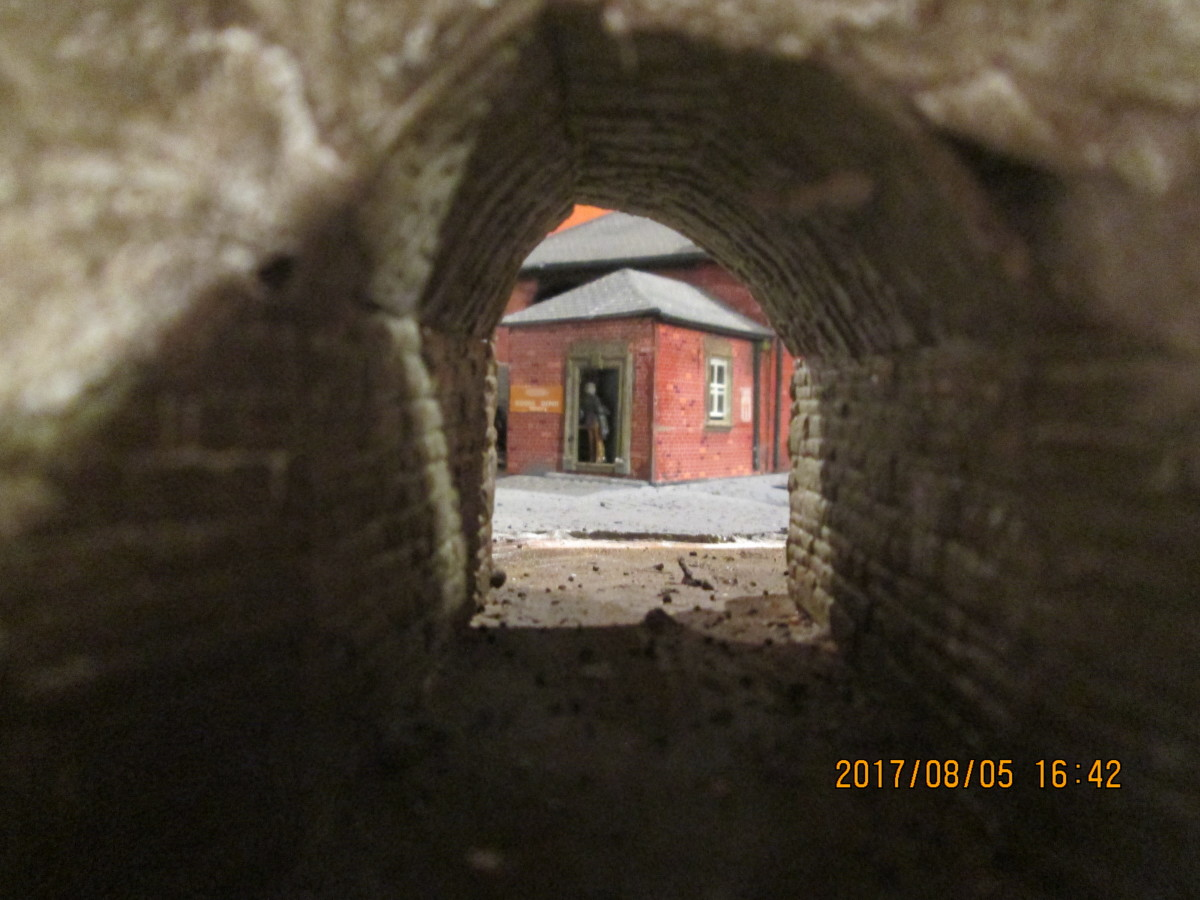 Looking through the underpass at the goods office... The arches at both ends still need to be completed with capping