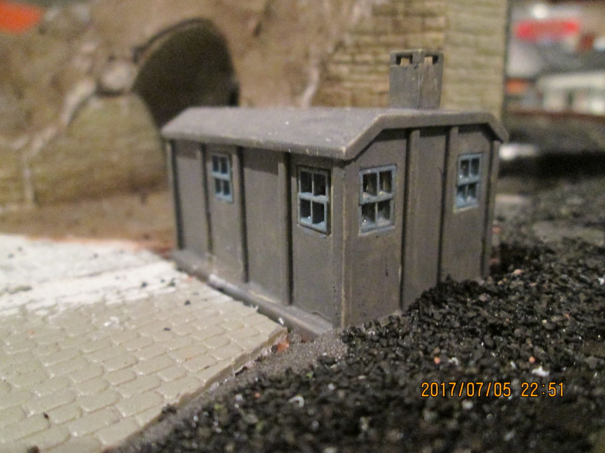 The back view - a small chimney topped this end of the structure, a small stove heated the space within for gangers (track workers) in their breaks